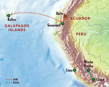 Peru And The Galapagos Islands With Luxury Style Days Maps - Galapagos map